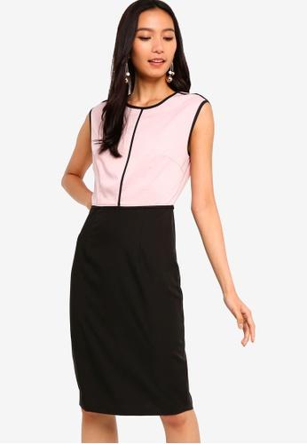 ZALORA 黑色 and 粉紅色 Piping Detailed Sheath Dress D49DAAAB8EDD75GS_1