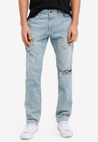 Hollister 藍色 Skinny Destroyed Light Denim Jeans 2872CAA667A216GS_1