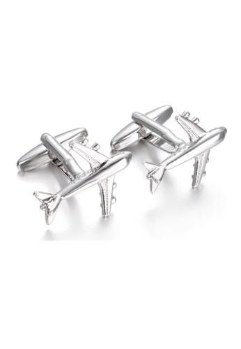 Kings Collection silver Airplane Men Cufflinks E9577ACB3E044FGS_1