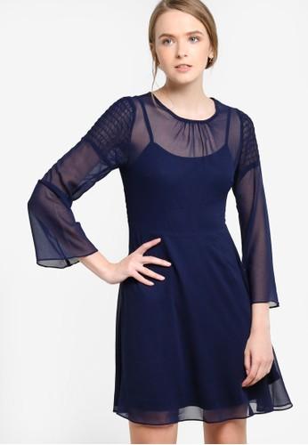 薄紗層疊長袖連身裙,esprit hk 服飾, 派對洋裝