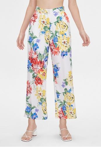 Pomelo white Bold Floral Wide Leg Pants - White 98C89AA590ED6CGS_1