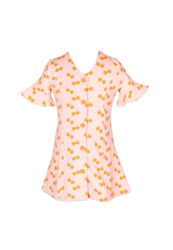 Mini Moley pink Mandarin Orange Print Girl's Button Down Dress 8FF02KA79CF6D3GS_1
