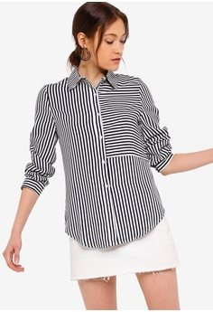 ff630b88 ZALORA BASICS white and multi and navy Basic Stripes Blocked Shirt  00EB3AAC93BA22GS_1