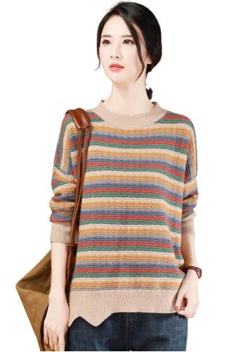 A-IN GIRLS multi Fashion Striped Cutout Sweater 39F68AA12FE799GS_1