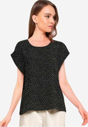 JACQUELINE DE YONG black Piney Short Sleeve Top 17D0AAA9E28708GS_1