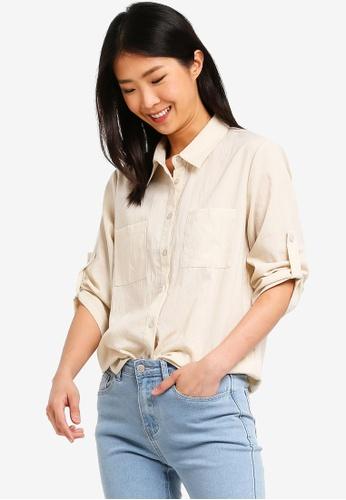 ZALORA BASICS beige Basic Rolled Sleeves Pocket Shirt 3059DAAECFBB15GS_1