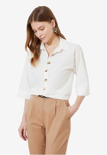 Trendyol white Button Down 3/4 Sleeve Shirt 6B5C3AAE09065CGS_1
