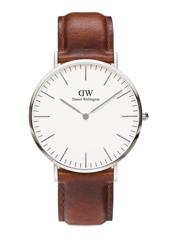 Daniel Wellington brown and silver Classic St Mawes 40mm Silver Watch 112FFACD536301GS_1