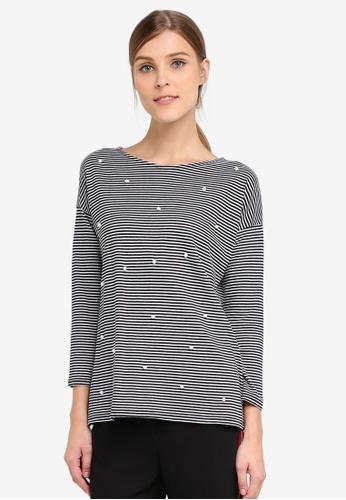 WAREHOUSE 黑色 Pearl Embellished Stripe Top WA653AA0STC1MY_1