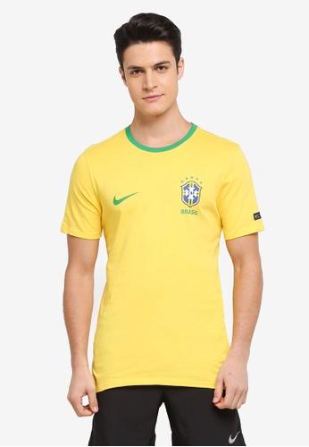 Nike yellow Men's Nike Brasil CBF Football T-Shirt 86FC1AABFA44BCGS_1