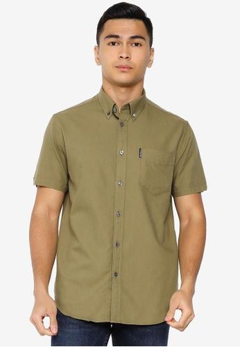 Ben Sherman green Signature Gots Organic Oxford Shirt B31ACAAC779CE5GS_1