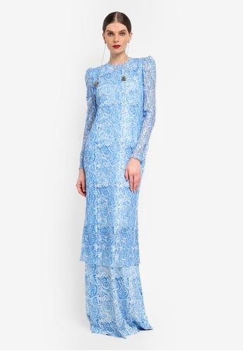Rizalman for Zalora white and blue Long Jersey Kurung RI909AA0SF0RMY_1