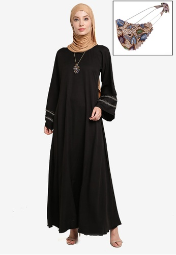 Yans Creation black Haya Maxi Dress Free Selendang and Reusable Face Mask 054BBAA6176002GS_1