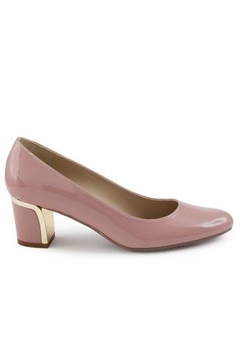 Shu Talk 粉紅色 方頭漆皮粗低跟鞋 SH544SH09Z6DTW_1