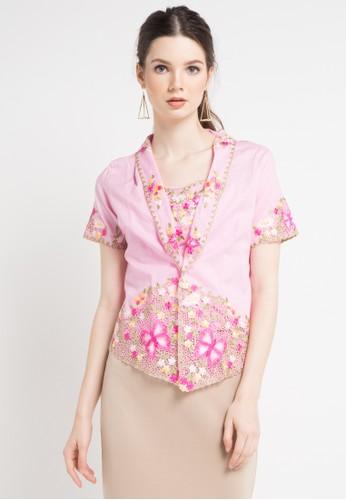 Salsabila Etnic Kebaya pink Short Sleeve Kebaya With Kamisol  0393AAA7752EBFGS 1 a9c731fb55
