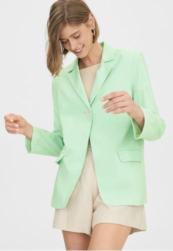 Pomelo green Single Button Oversized Blazer - Green E0C05AA75C653BGS_1