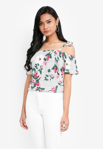Dorothy Perkins white Ivory Floral Cold Shoulder Top B0536AA54A4B39GS_1