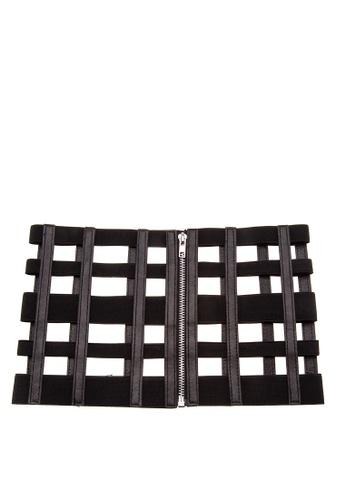 Treasure by B & D black Gaterized Pattern Corset Belt TR022AC0K5KAPH_1