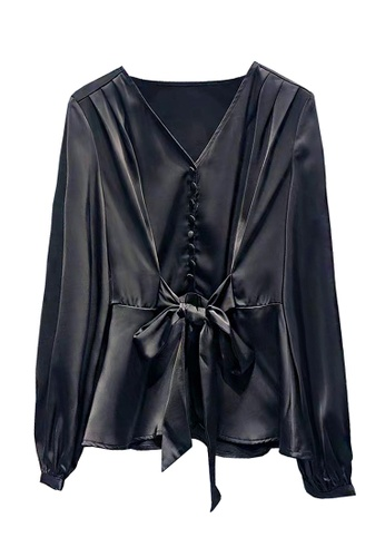 Twenty Eight Shoes black VANSA  Tie Front Long Sleeves Blouse  VCW-Bs8302 237A6AA092F41BGS_1