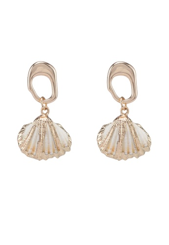 Saturation gold Seashell Drop Earrings 4AD20ACCC1B607GS_1