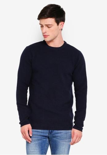 Indicode Jeans 海軍藍色 長袖羅紋針織衫 D9265AAE3F8B04GS_1