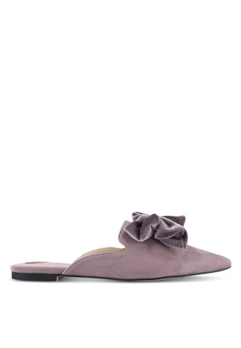 Velvet purple Bow Slip On Mules 39F9CSHD8524EBGS_1