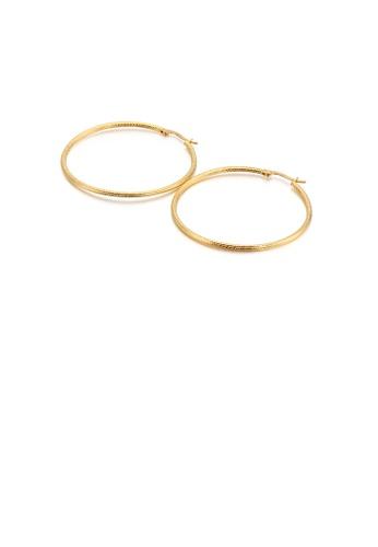 Glamorousky 銀色 簡約個性鍍金色50mm幾何圓圈316L鋼耳環 F7D2BAC0CD5EA8GS_1