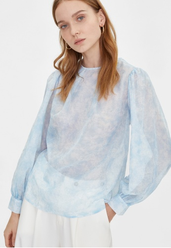 Pomelo blue Sheer Marble Print Top - Blue 97C62AACCBC118GS_1