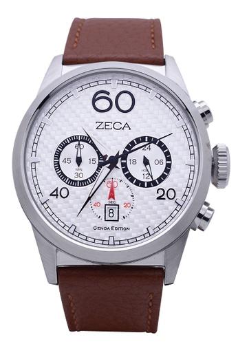ZECA brown Zeca Watches Men Fashion Leather Analog - 240M Brown Silver ZE260AC02SKFSG_1