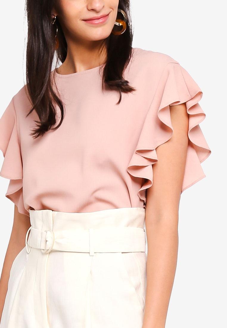 Sleeve Moda Short Top Elisia Vero Misty Rose dtqwA7FFxa