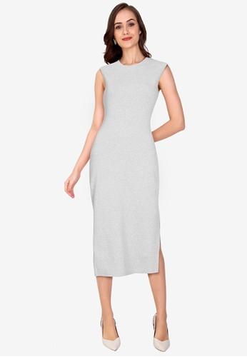 ZALORA WORK grey Side Slit Rib Dress DD8D6AA04EDFFEGS_1