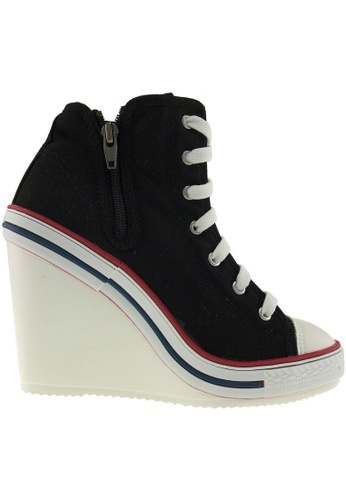 Maxstar Maxstar Women's 777 Side Zipper Canvas High Wedge Heel Sneakers US Women Size MA168SH68BRZHK_1