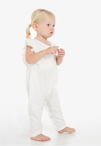 Gen Woo white Ruffle Baby Jumpsuit By Gen Woo 572D2KACC688D5GS_1