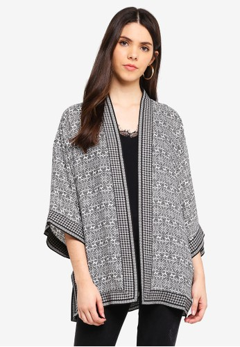 Max Studio black and multi Woven Short Sleeve Kimono 0AD82AAFC3B875GS_1