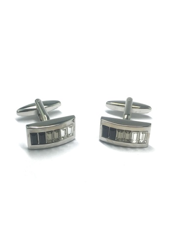 Splice Cufflinks Curved Rhodium Plated Cufflinks with Graded Black Smoke Grey & Clear Crystals SP744AC42AAZSG_1