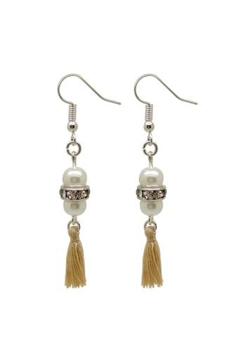 Fur Nyce white Pearl Bead Mini Tassel Drop Earrings 4D0C6ACF974868GS_1