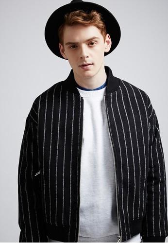 韓系學院。混紡羊毛。條紋鋪棉夾克-07384-黑色, 服飾, esprit高雄門市冬裝外套