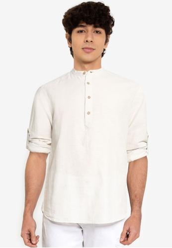 Only & Sons beige Caiden Half Placket Linen Shirt EE43DAA1A02B54GS_1