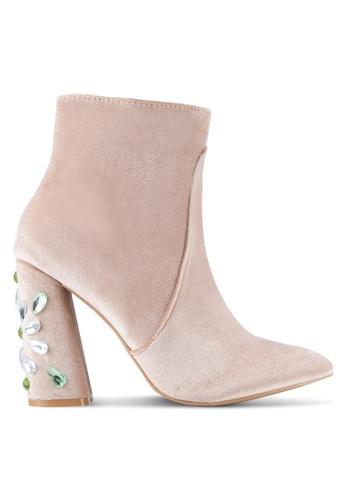 Public Desire pink Reverend Velvet Gem Heel Detail Ankle Boots PU378SH0SIP6MY_1