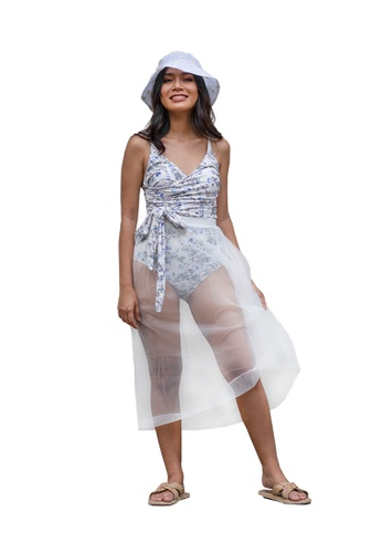 PINK N' PROPER white Oriana Elastic Long Mesh Skirt in White 9378CUS54861DFGS_1