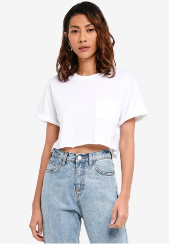 TOPSHOP white Cut Off Crop T-Shirt 0445AAA43BE224GS_1