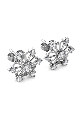 Her Jewellery Silver Snowflakes Earrings Embellished With Crystals From Swarovski He210ac0grbasg 1