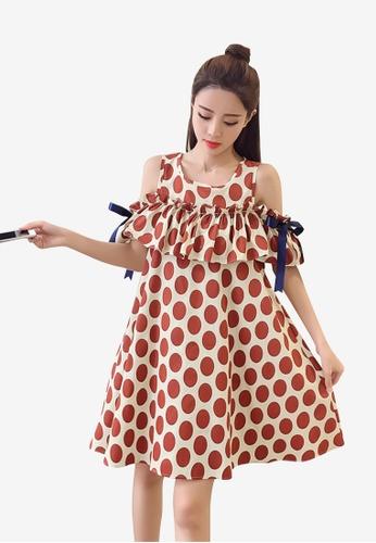 hk-ehunter brown Off-Shoulder Loose and Spots Patterned A-Line Dress B33F1AA768FECFGS_1
