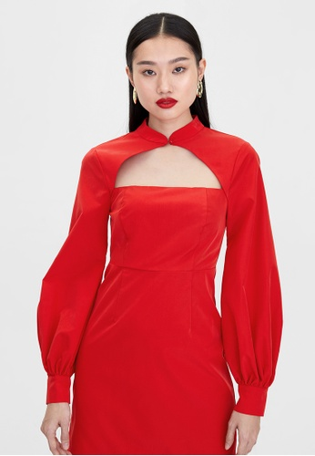 Pomelo red Long Sleeve Cut Out Dress - Red 2129DAA12E4AE8GS_1