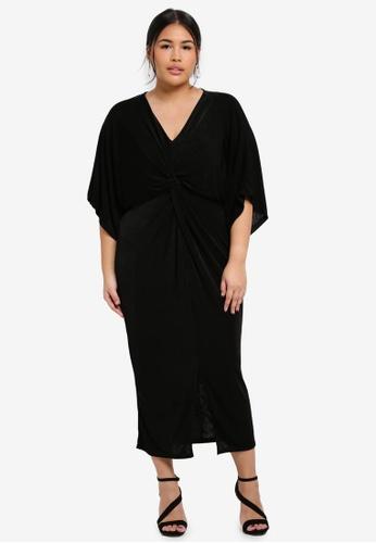 MISSGUIDED black Plus Size Slinky Kimono Midi Dress D14FDAA493E74EGS_1