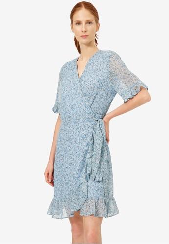 KOTON blue Frilly Wrap Dress 8A85BAA6DA04DFGS_1