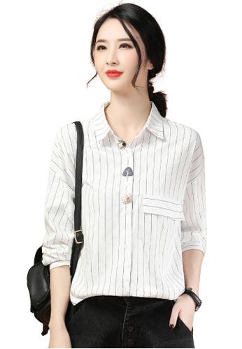 A-IN GIRLS white Cute Striped Long Sleeve Blouse 90A2DAAA4A2F37GS_1