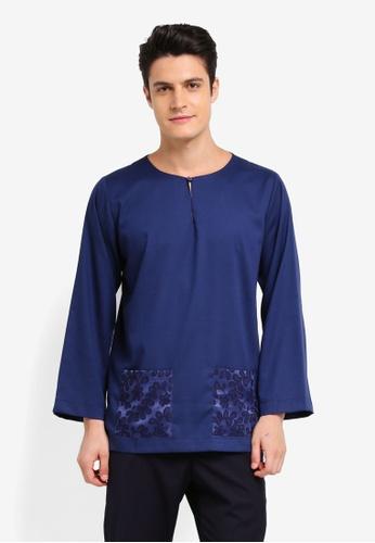 Zalia Homme 海軍藍色 Contrast Pocket Top 34E07AAC5589F1GS_1