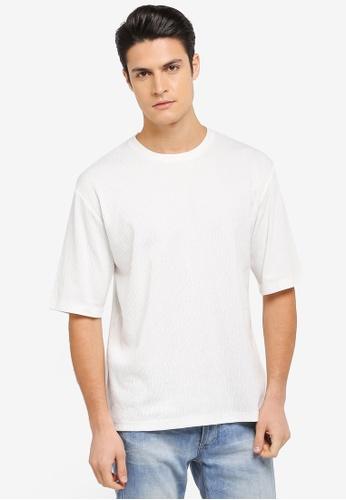 ZALORA white Textured Knit Boxy Tee 40950AA88A35DEGS_1