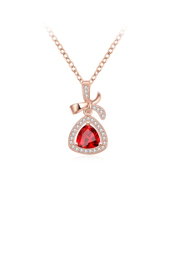 Glamorousky white Elegant Plated Rose Gold Bow Pendant with Red Cubic Zircon and Necklace AE44EACA5FF0DFGS_1